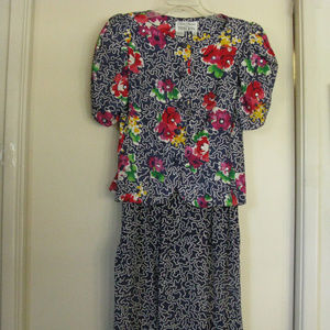 Two Piece Silk and Linen Dress